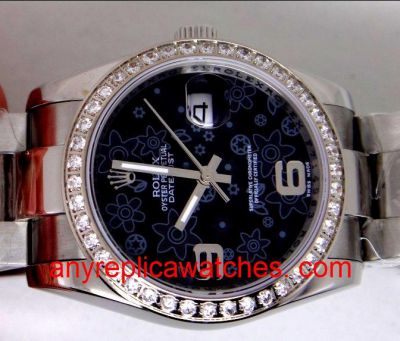 Rolex Baselworld SS Oyster Black Flower Face Diamond Bezel