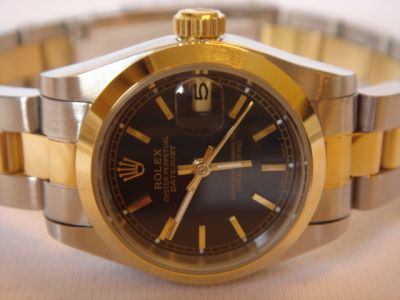 Copy Black Dial Rolex 2-Tone Oyster Datejust Watch