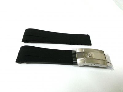 Rolex Black Rubber strap with SS clasp for Daytona / Deepsea