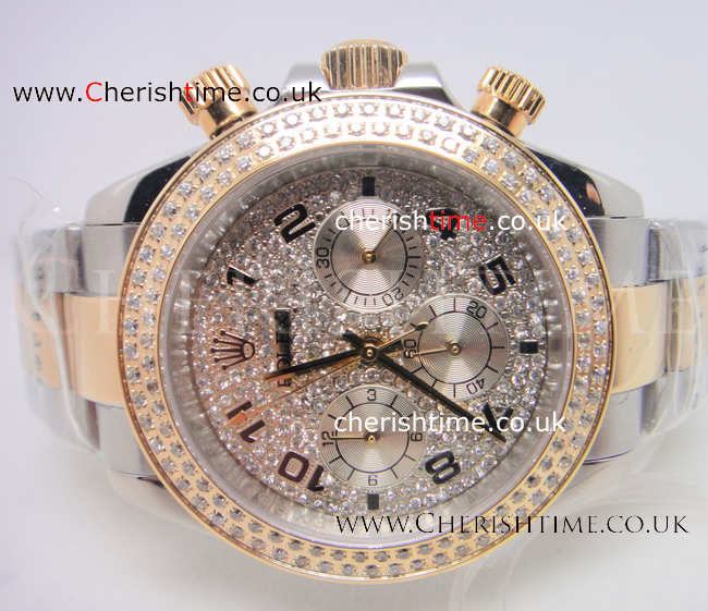 Rolex Daytona Diamonds Replica Watch / 2-Tone