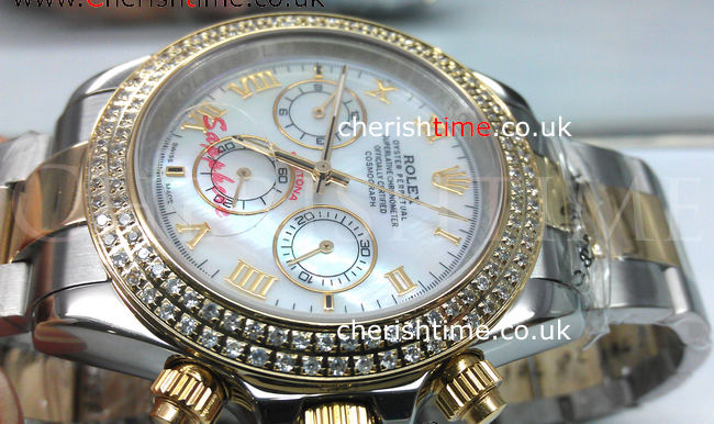 2-Tone Daytona WHITE MOP Roman Face / Diamond Bezel