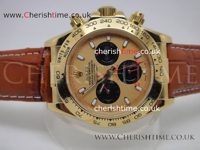 Rolex Daytona Champaign Face Leather Strap Watch