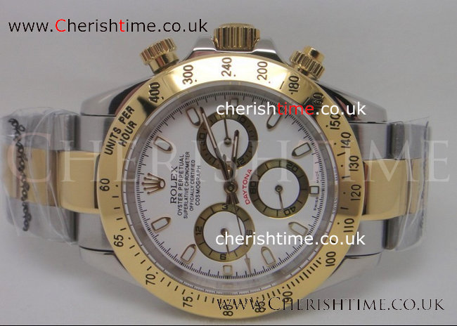 2-Tone Rolex Daytona White Face Men Watch 40mm