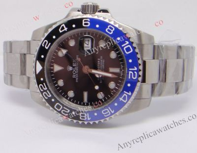 Fake Rolex GMT-Master II SS Black / Blue Ceramic Bezel Watch