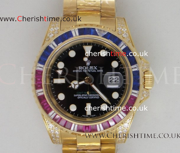 GMT Master II Red / Blue Diamond Bezel All Gold Replica Watch