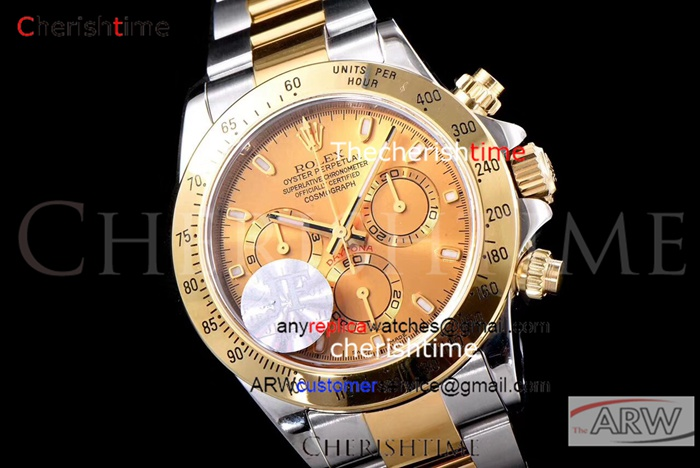 Copy Rolex Gold Dial Gold Bezel 2-Tone Gold Band Swiss Watch