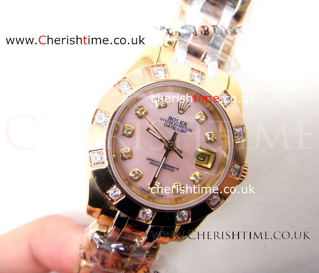 Rolex Masterpiece 3-Tone Pink MOP Lady's Watch