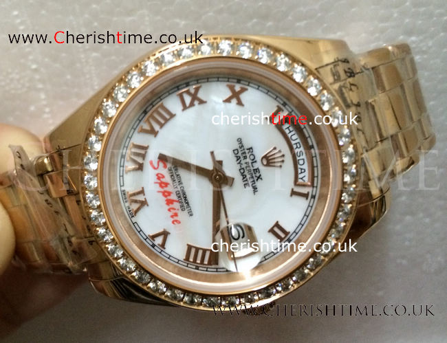 Rolex Datejust Pearlmaster Everose Gold White MOP Roman Face