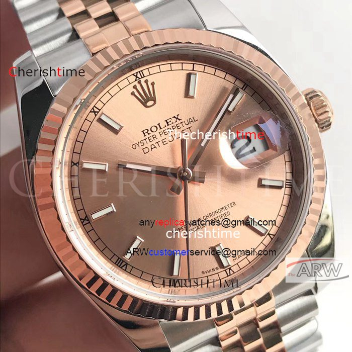 Copy Rolex Rose Gold Dial 2-Tone Rose Gold Strap Swiss Watch