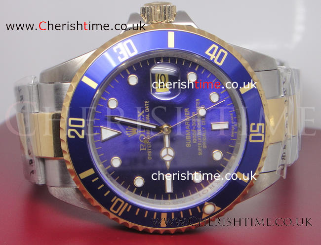 Copy Extra Large Rolex 2-Tone Submariner Blue Bezel Watch