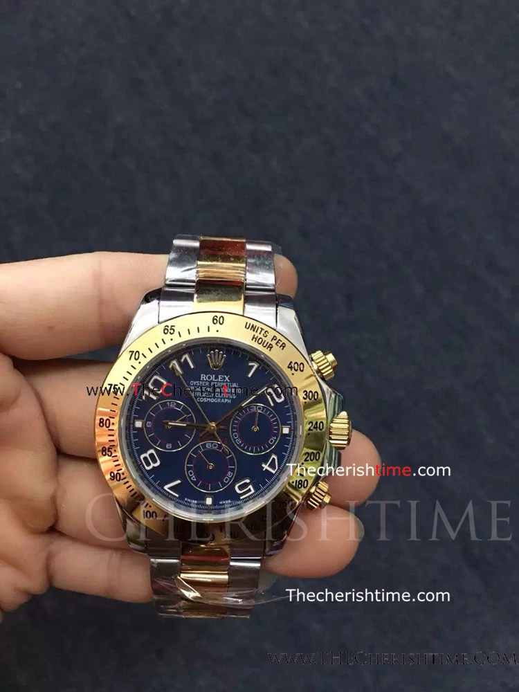 Rolex Two Tone Daytona Blue Dial Arabic Markers Copy Watch