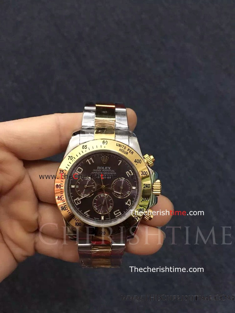 Rolex Two Tone Daytona Brown Dial Arabic Markers Copy Watch