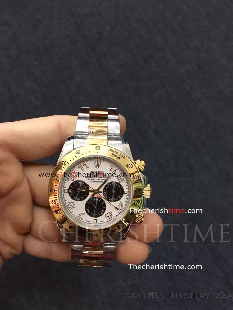 Rolex Two Tone Daytona White Dial Arabic Markers Copy Watch