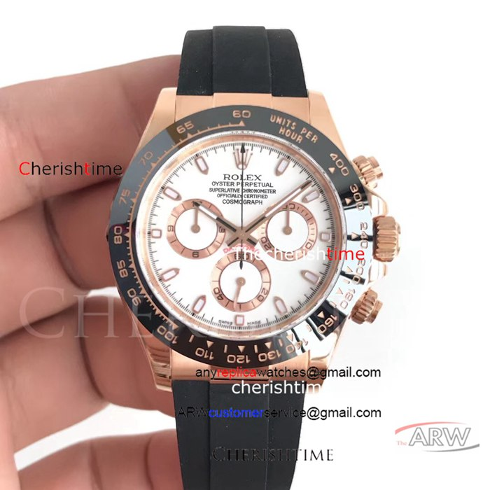 Clone Rolex White Dial Black Bezel Rose Gold Swiss Watch