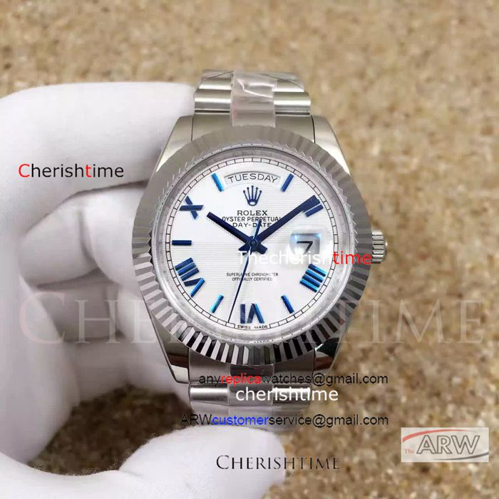 Fake Rolex White Dial Blue Scale Blue Hands Swiss Watch