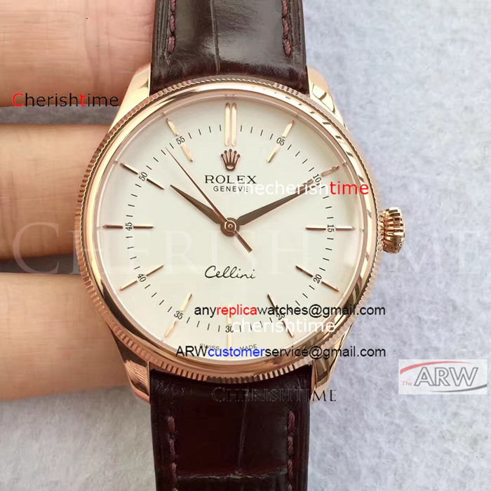 Copy Rolex White Dial Rose Gold Case Brown Band Swiss Watch