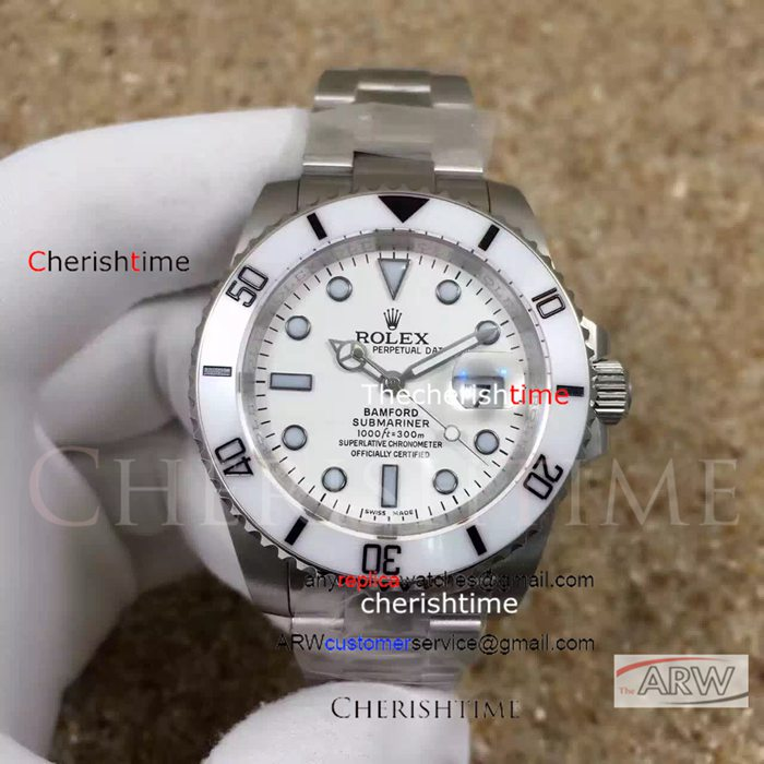 Fake Rolex White Dial White Bezel Stainless Steel Case Watch