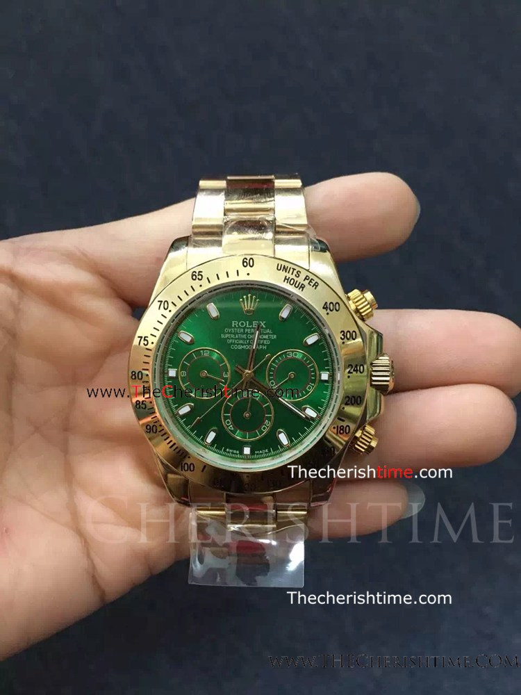 Rolex Yellow Gold Daytona Green Face Replica Watch