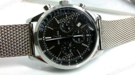 SS Breitling 7750 Swiss Grade Black Face Men's Replica