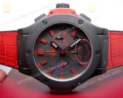 SWISS GRADE HUBLOT BIG BANG ALL BLACK CASE RED GUMMY BAND 44 MM