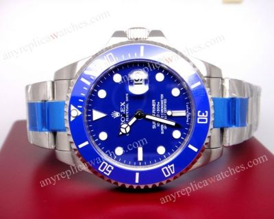 Extra Large Blue dial blue ceramic bezel replica rolex submarine