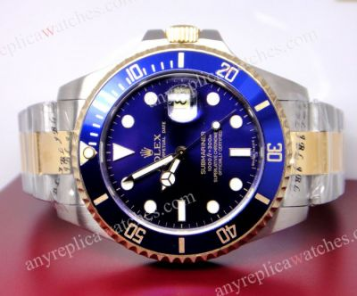 Extra Large Rolex two tone Submariner Replica watch blue face 42