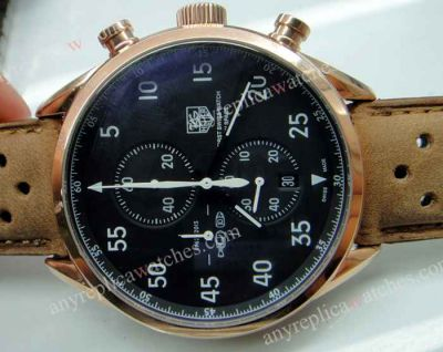 TAG HEUER Carrera Spacex Watch w/ Brown Leather strap