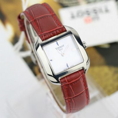 TISSOT T-Wave Replica Watch: White MOP Dial Red Leather Ladies