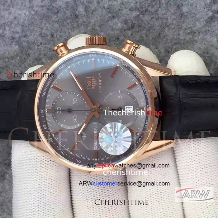 Copy Tag Heuer Gray Dial Rose Gold Case Black Strap Swiss Watch