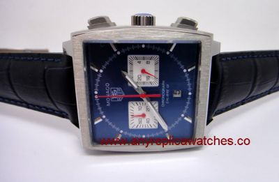 Tag Heuer Monaco Chronograph Calibre 12 Blue / Blue leather