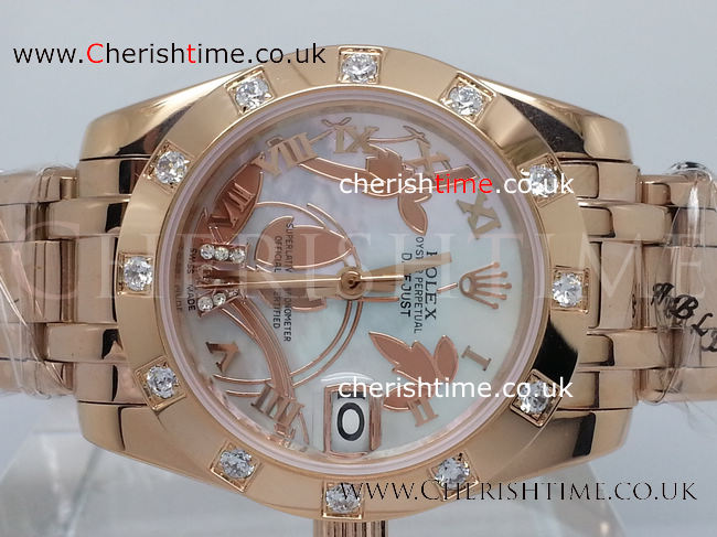 Clone Rolex Datejust Special Edition Rose Gold Masterpiece 34mm