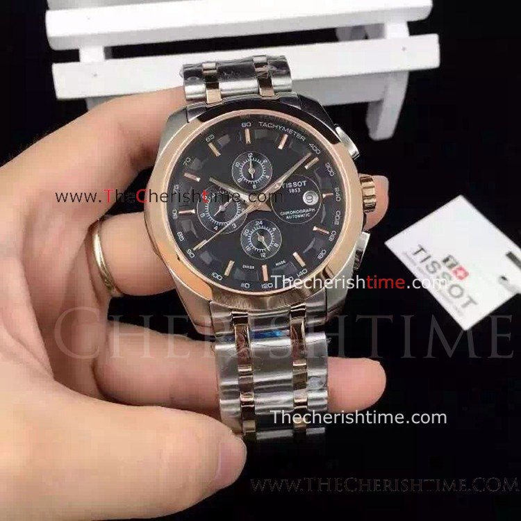 Tissot T035 2-Tone Rose Gold Replica Watch Black Face