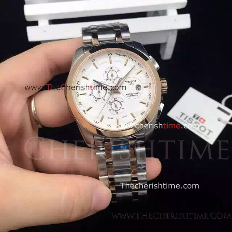 Tissot T035 2-Tone Rose Gold Replica Watch White Face
