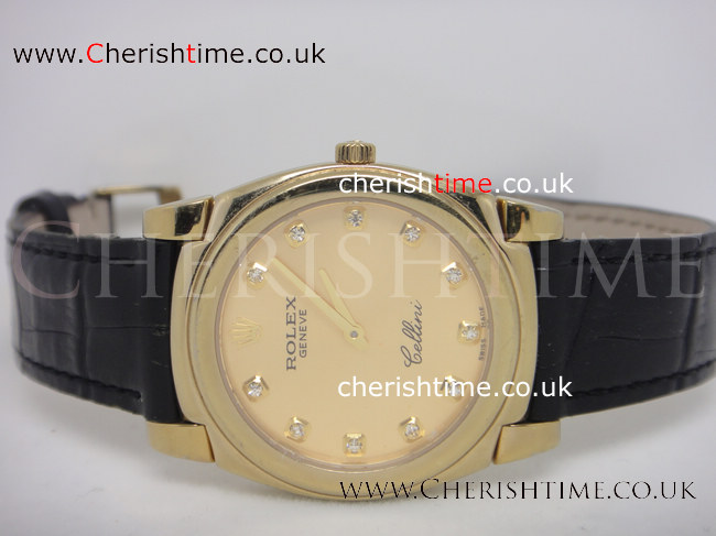 Top Quality Rolex Cellini Watch Gold Face Black Leather
