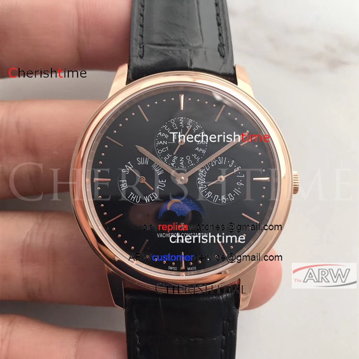 Copy Vacheron Constantin Black Dial Rose Gold Case Swiss Watch
