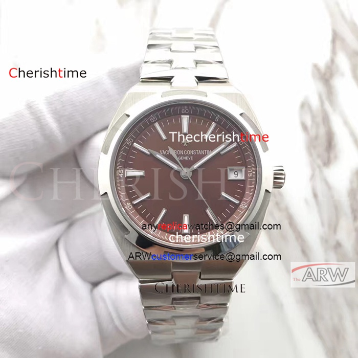 Copy Vacheron Constantin Brown Dial Stainless Steel Swiss Watch