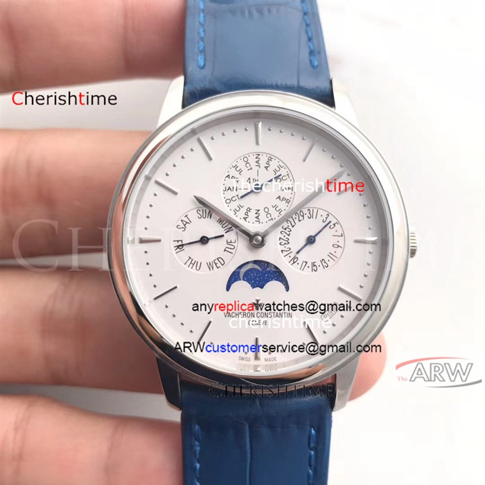 Copy Vacheron Constantin White Dial Blue Strap Swiss Watch
