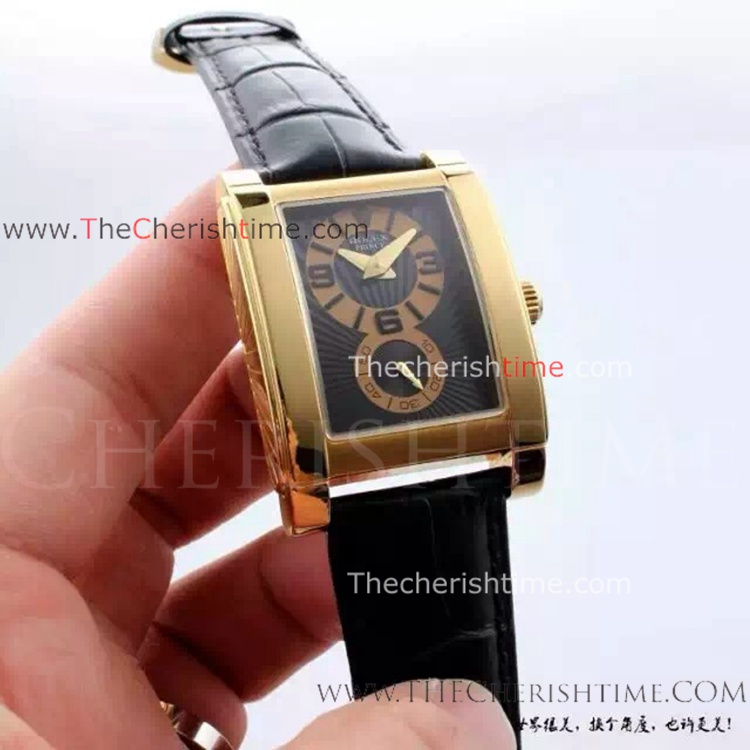 knockoff Rolex Cellini Prince Gold Case Black Dial Watch