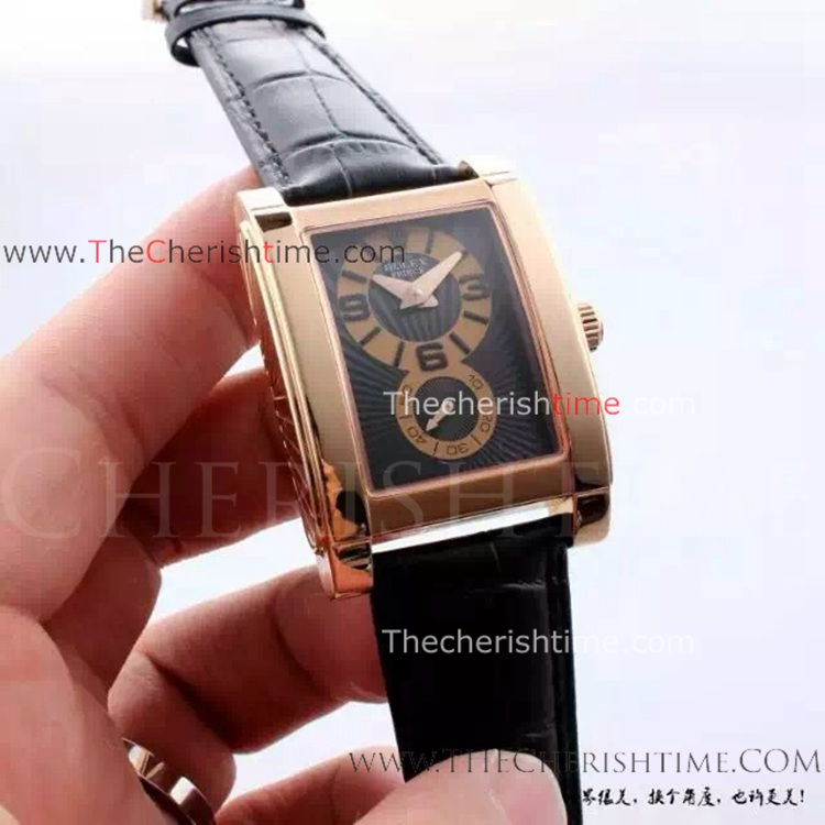 knockoff Rolex Cellini Prince Rose Gold Black Dial Watch